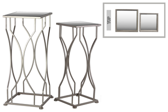 UTC25877 Metal Accent Table with Mirror Top and Square Base Set of Two Coated Finish Silver