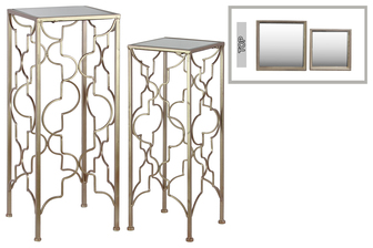 UTC25878 Metal Accent Table with Mirror Top and Square Base Set of Two Metallic FInish Champagne