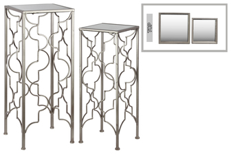 UTC25879 Metal Accent Table with Mirror Top and Square Base Set of Two Metallic FInish Silver