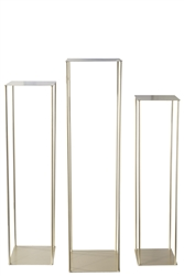 UTC25882 Metal Rectangle Plant Stand with Corner Leg Stand Set of Three Metallic Finish Gold