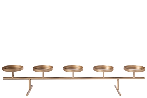 UTC25884 Metal Clustered Candle Holder with Stand Metallic Finish Gold