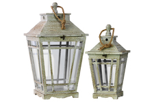 UTC26110 Wood Lantern with Rope Hanger and Glass Sides Set of Two Washed Finish Gray