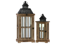 UTC26116 Wood Rectangular Lantern with Black Pierced Metal Top and Ring Hanger Set of Two Weathered Wood Finish Dark Brown