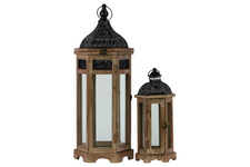 UTC26117 Wood Hexagonal Lantern with Black Pierced Metal Top and Ring Hanger Set of Two Weathered Wood Finish Dark Brown