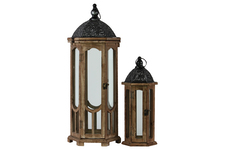 UTC26118 Wood Hexagonal Lantern with Black Pierced Metal Top and Ring Hanger Set of Two Weathered Wood Finish Dark Brown