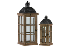 UTC26119 Wood Rectangular Lantern with Black Pierced Metal Top and Ring Hanger Set of Two Weathered Wood Finish Dark Brown