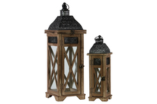 UTC26120 Wood Square Lantern with Black Pierced Metal Top and Ring Hanger Set of Two Weathered Wood Finish Dark Brown