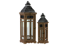 UTC26121 Wood Square Lantern with Black Pierced Metal Top and Ring Hanger Set of Two Weathered Wood Finish Dark Brown