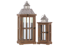UTC26122 Wood Rectangular Lantern with Silver Pierced Metal Top and Ring Hanger Set of Two Natural Wood Finish Brown