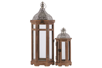 UTC26123 Wood Hexagonal Lantern with Silver Pierced Metal Top and Ring Hanger Set of Two Natural Wood Finish Brown