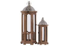 UTC26124 Wood Hexagonal Lantern with Silver Pierced Metal Top and Ring Hanger Set of Two Natural Wood Finish Brown
