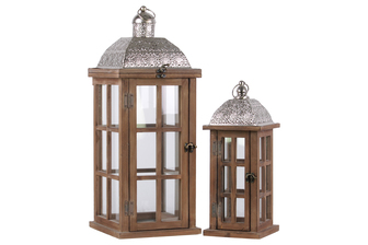 UTC26125 Wood Rectangular Lantern with Silver Pierced Metal Top and Ring Hanger Set of Two Natural Wood Finish Brown