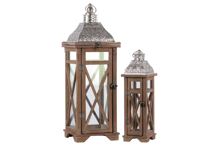 UTC26126 Wood Square Lantern with Silver Pierced Metal Top and Ring Hanger Set of Two Natural Wood Finish Brown