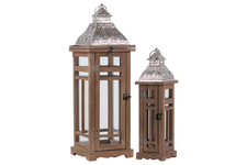 UTC26127 Wood Square Lantern with Silver Pierced Metal Top and Ring Hanger Set of Two Natural Wood Finish Brown