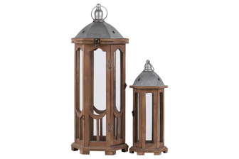 UTC26128 Wood Hexagonal Lantern with Ring Handle and Galvanized Metal Top Set of Two Natural Finish Brown