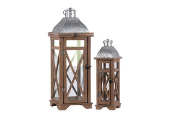 "UTC26129 Wood Square Lantern with Ring Handle, Galvanized Metal Top and ""Cross"" Design Body Set of Two Natural Finish Brown"