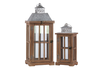 "UTC26130 Wood Rectangular Lantern with Ring Handle, Galvanized Metal Top and ""Window Pane"" Design Body Set of Two Natural Finish Brown"