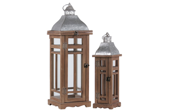 UTC26131 Wood Square Lantern with Ring Handle and Galvanized Metal Top Set of Two Natural Finish Brown