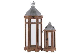 UTC26132 Wood Hexagonal Lantern with Ring Handle, Galvanized Metal Top and Glass Body Set of Two Natural Finish Brown