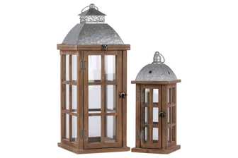 "UTC26133 Wood Square Lantern with Ring Handle, Galvanized Metal Top and ""Window Pane"" Design Body Set of Two Natural Finish Brown"