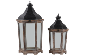 UTC26134 Wood Hexagon Lantern with Black Metal Top, Ring Hanger, Clear Glass Sides Body and Metal Sheet Inner Surface Natural Finish Set of Two Brown