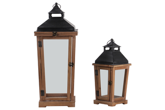 UTC26135 Wood Square Lantern with Black Metal Top, Ring Hanger, Clear Glass Sides Body and Metal Sheet Inner Surface Natural Finish Set of Two Brown