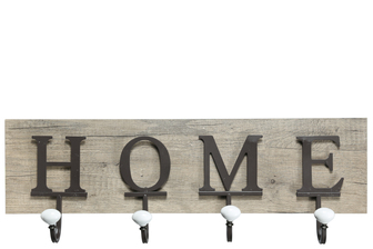 "UTC26136 Wood Rectangle Wall Hanger with ""HOME"" Printed, Metal Front Hooks and Back Hangers Natural Finish Brown"
