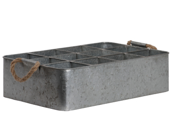 UTC26244 Metal Rectangular Tray with Rope Side Handles and 12 Slots Galvanized Finish Gray