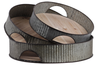 UTC26248 Metal Round Tray with Cutout Side Handles and Ribbed Design Body Set of Three Galvanized Finish Gray