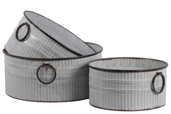 UTC26249 Metal Round Bucket with Ring Side Handle and Ribbed Design Body Set of Three Washed Finish Gray