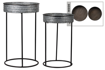 UTC26254 Metal Round Butler Tray Table with Painted Black Edges Set of Two Galvanized Finish Gray