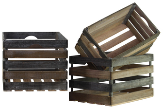 UTC26484 Wood Rectangle Crate Set of Three Reclaimed Wood Finish Gray and Brown