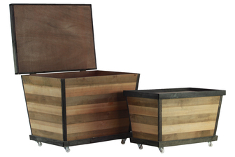 "UTC26485 Wood Rectangle Crate with Lid, Parquet ""Stripes"" Pattern Body and 4 Casters Design Set of Two Natural Wood Finish Brown and Tan"