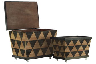 "UTC26486 Wood Rectangle Crate with Lid, Parquet ""Triangle"" Pattern Body and 4 Casters Design Set of Two Natural Wood Finish Gray and Tan"