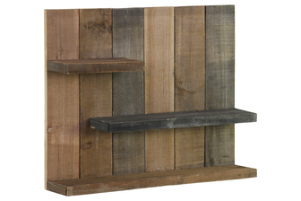 UTC26487 Wood Rectangle Wall Shelf with 3 Tier Shelves Reclaimed Wood Finish Multicolor (Gray, Dark brown and Tan)
