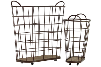 UTC26488 Metal Oval Wire Basket with Mesh Design Sides, Side Handles, Wooden Surface and 4 Casters Set of Two Coated Finish Black