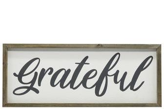 "UTC26491 Wood Rectangle Wall Art with Cursive Writing ""GRATEFUL"" on Sage Color Frame and Metal Back Hangers Painted Finish White"