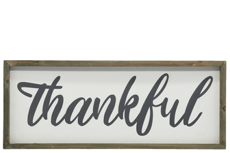 "UTC26492 Wood Rectangle Wall Art with Cursive Writing ""THANKFUL"" on Sage Color Frame and Metal Back Hangers Painted Finish White"