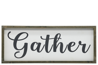 "UTC26494 Wood Rectangle Wall Art with Cursive Writing ""GATHER"" on Sage Color Frame and Metal Back Hangers Painted Finish White"