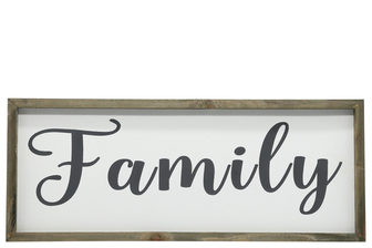 "UTC26495 Wood Rectangle Wall Art with Cursive Writing ""FAMILY"" on Sage Color Frame and Metal Back Hangers Painted Finish White"
