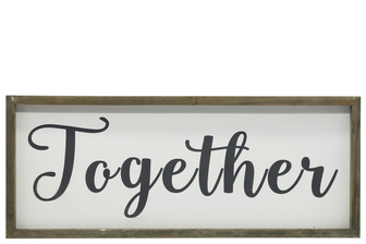 "UTC26496 Wood Rectangle Wall Art with Cursive Writing ""TOGETHER"" on Sage Color Frame and Metal Back Hangers Painted Finish White"