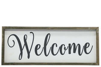"UTC26497 Wood Rectangle Wall Art with Cursive Writing ""WELCOME"" on Sage Color Frame and Metal Back Hangers Painted Finish White"