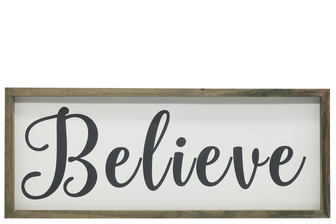 "UTC26498 Wood Rectangle Wall Art with Cursive Writing ""BELIEVE"" on Sage Color Frame and Metal Back Hangers Painted Finish White"