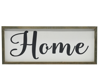 "UTC26499 Wood Rectangle Wall Art with Cursive Writing ""HOME"" on Sage Color Frame and Metal Back Hangers Painted Finish White"