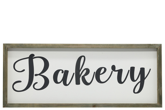 "UTC26500 Wood Rectangle Wall Art with Cursive Writing ""BAKERY"" on Sage Color Frame and Metal Back Hangers Painted Finish White"