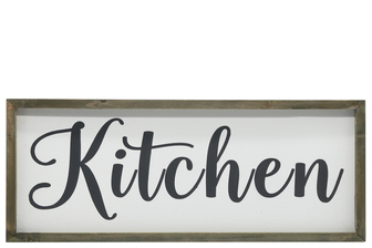 "UTC26501 Wood Rectangle Wall Art with Cursive Writing ""KITCHEN"" on Sage Color Frame and Metal Back Hangers Painted Finish White"