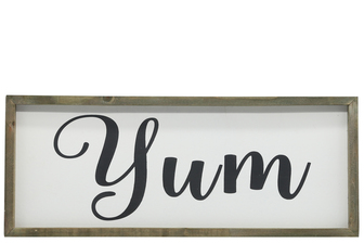 "UTC26502 Wood Rectagle Wall Art with Cursive Writing ""YUM"" on Sage Color Frame and Metal Back Hangers Painted Finish White"