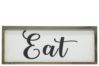 "UTC26503 Wood Rectagle Wall Art with Cursive Writing ""EAT"" on Sage Color Frame and Metal Back Hangers Painted Finish White"
