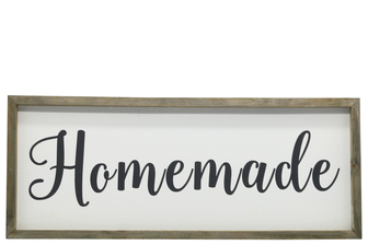 "UTC26504 Wood Rectangle Wall Art with Cursive Writing ""HOMEMADE"" on Sage Color Frame and Metal Back Hangers Painted Finish White"