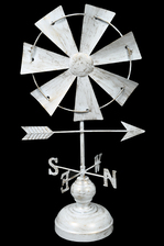 UTC26506 Metal Wind Vane Ornament on Round Base Stand Distressed Finish White